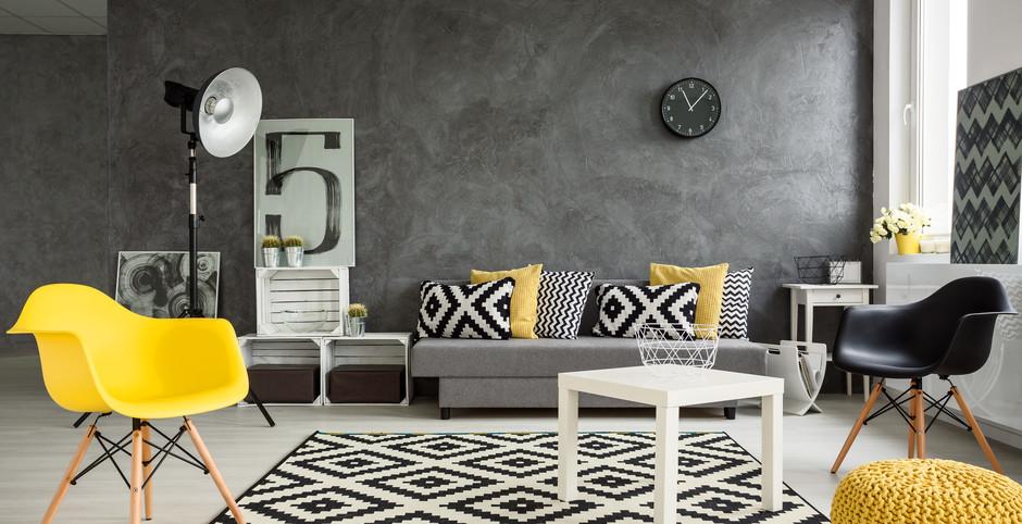 Szaro-żółte wnętrze kolor przewodni żółty