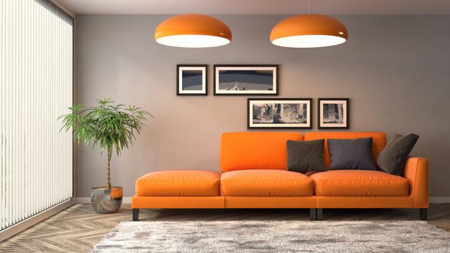 Pomarańczowa Sofa Energetyczny Akcent W Salonie